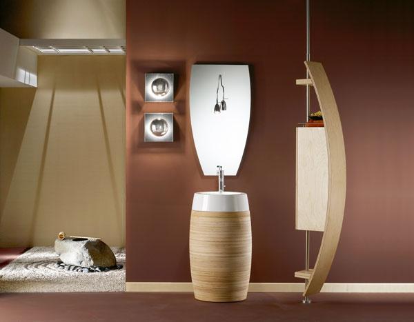 mobile da bagno singolo in legno di betulla